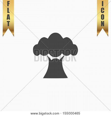Baobab tree. Flat Icon. Vector illustration grey symbol on white background with gold ribbon