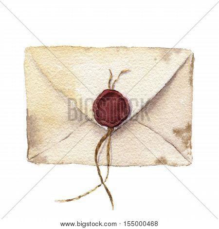 Watercolor retro envelope with sealing wax. Vintage mail icon isolated on white background. Hand painted design element.