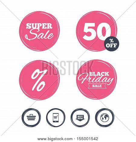 Super sale and black friday stickers. Online shopping icons. Smartphone, shopping cart, buy now arrow and internet signs. WWW globe symbol. Shopping labels. Vector
