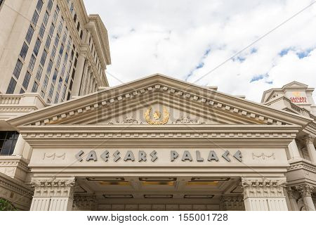 Las Vegas USA - October 28 2016: Marquee over entrance to Caesars Palace on the Vegas Strip in Las Vegas NV. Caesars Palace is a luxury resort famous casino and an iconic brand.