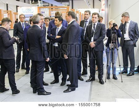 St. Petersburg, Russia - 4 October, Group of business people at the gas forum, 4 October, 2016. Petersburg Gas Forum which takes place in Expoforum.