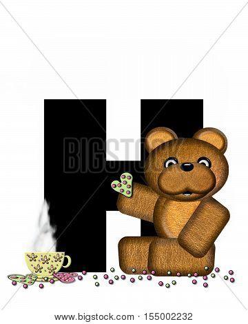 Alphabet Teddy Tea Time H