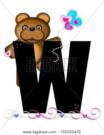 Alphabet Teddy Valentines Cutie W