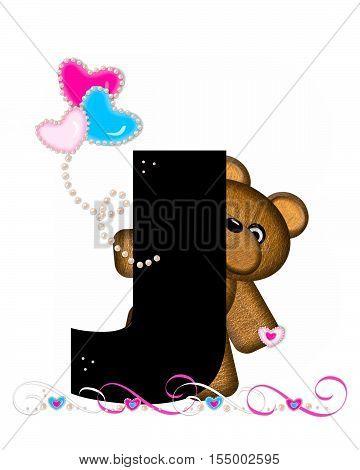 Alphabet Teddy Valentines Cutie J