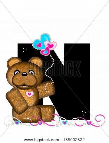 Alphabet Teddy Valentines Cutie N
