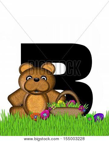 Alphabet Teddy Hunting Easter Eggs B