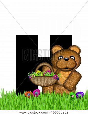 Alphabet Teddy Hunting Easter Eggs H