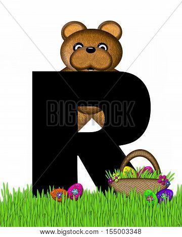 Alphabet Teddy Hunting Easter Eggs R