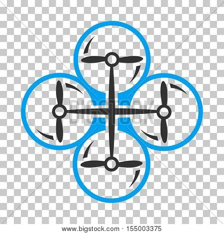 Drone Screws interface toolbar icon. Vector pictograph style is a flat bicolor symbol, blue and gray colors, chess transparent background. poster