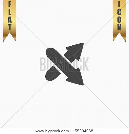 Two arrows. Direction sign. Flat Icon. Vector illustration grey symbol on white background with gold ribbon