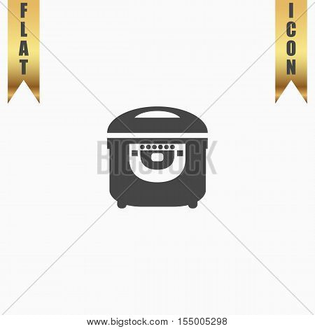 Electric Cooker. Flat Icon. Vector illustration grey symbol on white background with gold ribbon