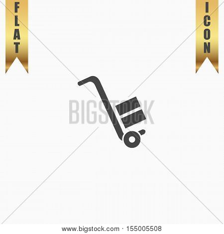 Manual loader. Flat Icon. Vector illustration grey symbol on white background with gold ribbon