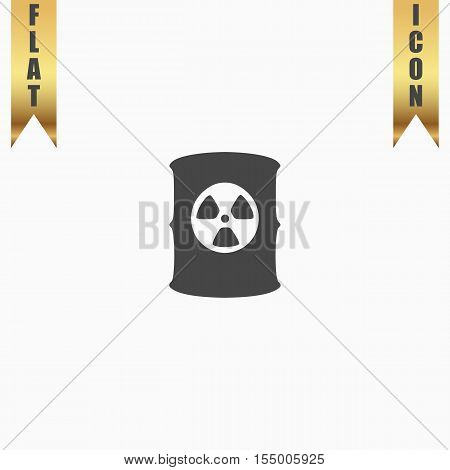 Container with radioactive waste. Flat Icon. Vector illustration grey symbol on white background with gold ribbon