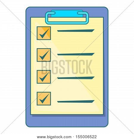 Clipboard check list icon. Cartoon illustration of check list vector icon for web design