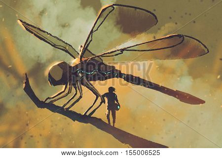 pilot standing with giant mechanical dragonflysci-fi concept illustration painting