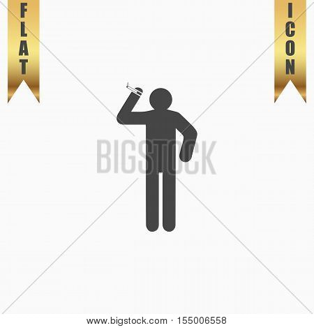Man with a cigarette. Flat Icon. Vector illustration grey symbol on white background with gold ribbon