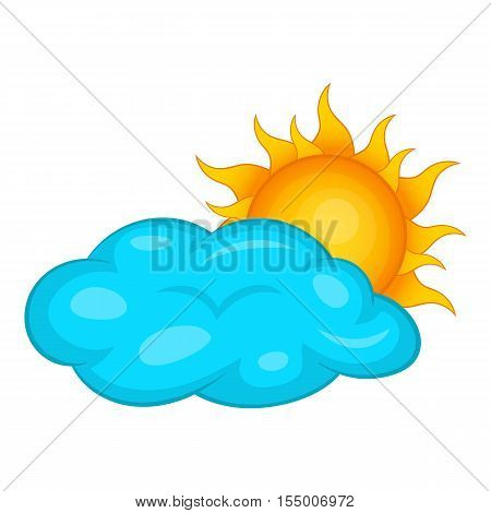 Sun behind clouds icon. Cartoon illustration of sun behind clouds vector icon for web design