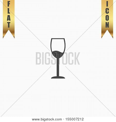 Simple Wine glass - Alcohol drink. Flat Icon. Vector illustration grey symbol on white background with gold ribbon