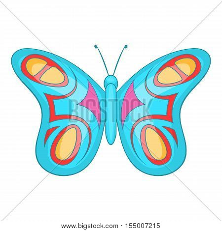 Blue butterfly icon. Cartoon illustration of butterfly vector icon for web design