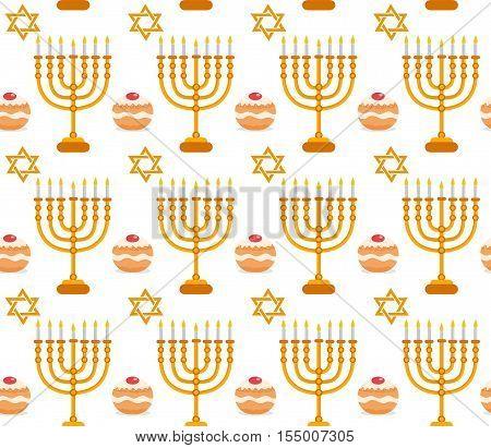 Hanukkah seamless pattern. Hanukkah background with Menorah Sufganiyot star of David. Happy Hanukkah Festival of Lights Feast of Dedication seamless texture. Vector illustration