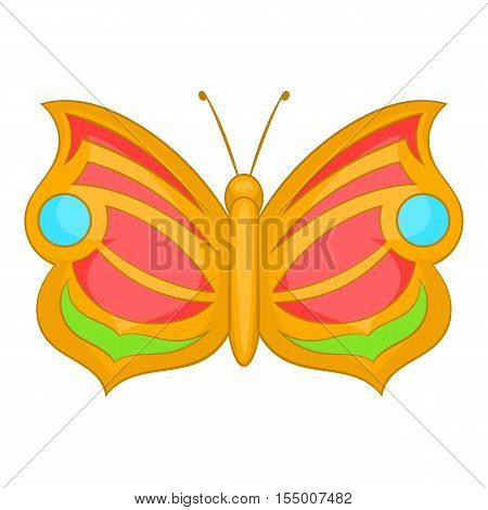 Butterfly with circles on wings icon. Cartoon illustration of butterfly vector icon for web design