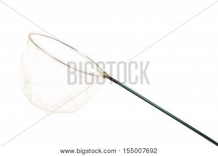 One green landing net isolated on white background