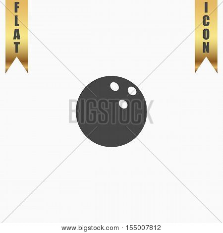 Bowling ball. Flat Icon. Vector illustration grey symbol on white background with gold ribbon