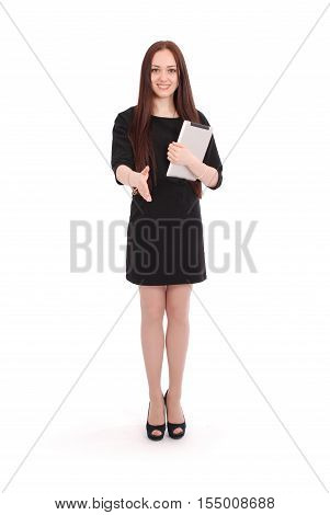 Happy student teenage girl with tablet pc. Isolated on white