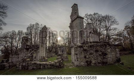 First World War battlefield. Ruins of the Church of MontFaucon village, France