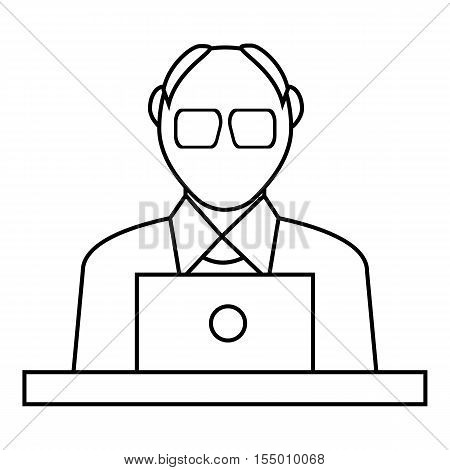 Male consultant icon. Outline illustration of male consultant vector icon for web