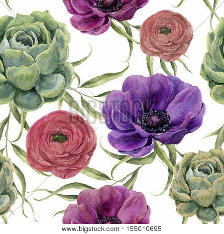 Watercolor floral seamless pattern. Watercolor illustration with eucalyptus leaves, anemone flowers, ranunculus and succulent isolated on white background. For design, textile and background