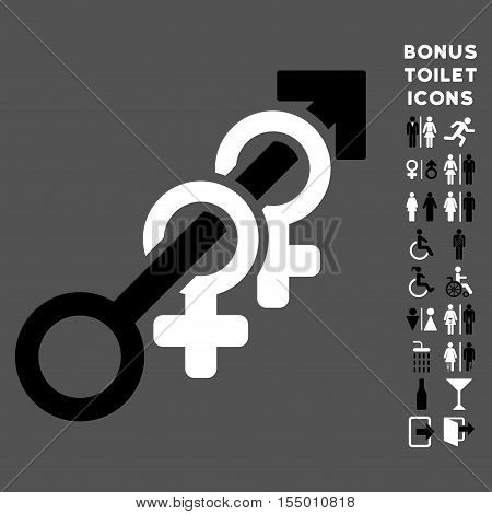 Harem icon and bonus gentleman and woman restroom symbols. Vector illustration style is flat iconic bicolor symbols, black and white colors, gray background.