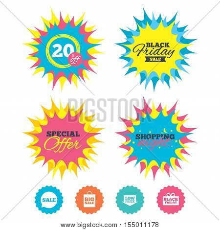 Shopping night, black friday stickers. Sale speech bubble icon. Black friday gift box symbol. Big sale shopping bag. Low price arrow sign. Special offer. Vector