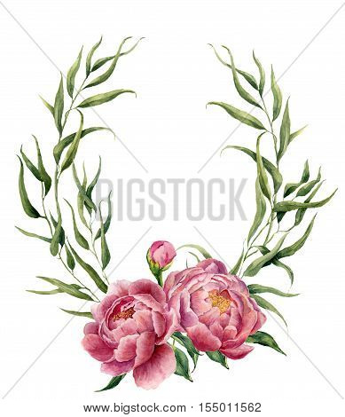 Watercolor floral wreath with eucalyptus leaves, peonies and leaves. Hand painted floral border with branches, leaves and peony flowers isolated on white background. For design or background.
