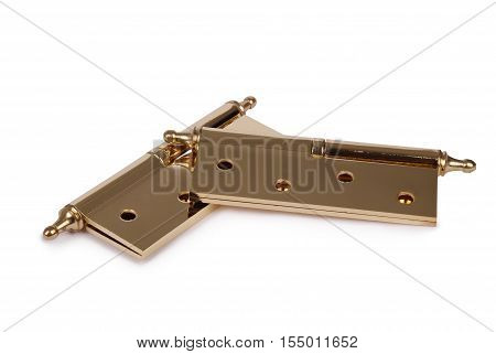 Metal door hinges isolated on white background. Photo with clipping path
