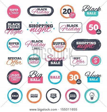 Sale shopping stickers and banners. Sale icons. Special offer speech bubbles symbols. Buy now arrow shopping signs. Available now. Website badges. Black friday. Vector