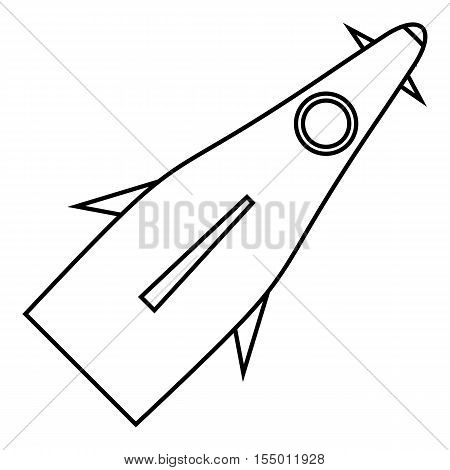 Winged rocket icon. Outline illustration of winged rocket vector icon for web