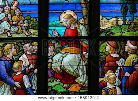Feeding The Multitude - Stained Glass Depicting The Miracle Of The Five Loaves And Fish