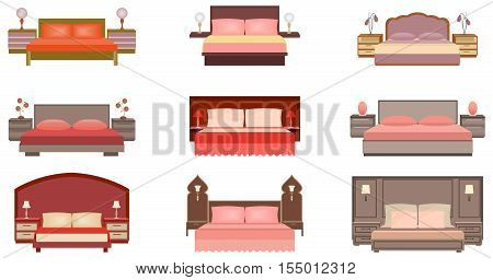 Set of pastel colors nine bed collection with bedside tables lamps and headboards. Flat style vector illustration.