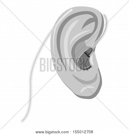 Hearing aid icon. Gray monochrome illustration of hearing aid vector icon for web