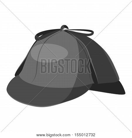 Hat detective icon. Gray monochrome illustration of hat detective vector icon for web