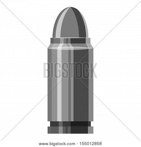 Cartridge for gun icon. Gray monochrome illustration of cartridge for gun vector icon for web