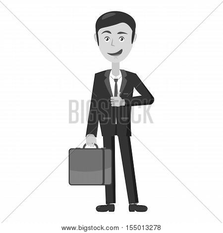 Businessman with briefcase icon. Gray monochrome illustration of businessman with briefcase vector icon for web