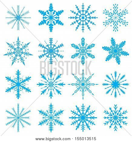 Snowflakes set. Icons set snowflakes. Snowflakes for Christmas background. Vector illustration