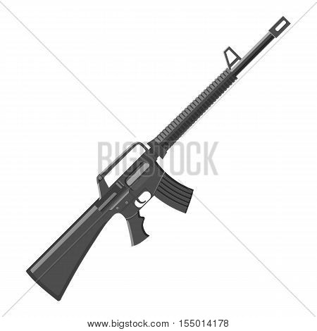 Military rifle icon. Gray monochrome illustration of military rifle vector icon for web