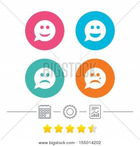 Speech bubble smile face icons. Happy, sad, cry signs. Happy smiley chat symbol. Sadness depression and crying signs. Calendar, cogwheel and report linear icons. Star vote ranking. Vector