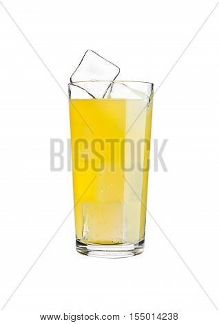 Glass of orange soda drink cold with ice cubes on white background