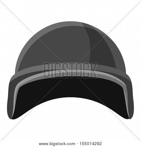 Military helmet icon. Gray monochrome illustration of military helmet vector icon for web