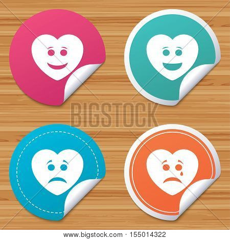 Round stickers or website banners. Heart smile face icons. Happy, sad, cry signs. Happy smiley chat symbol. Sadness depression and crying signs. Circle badges with bended corner. Vector