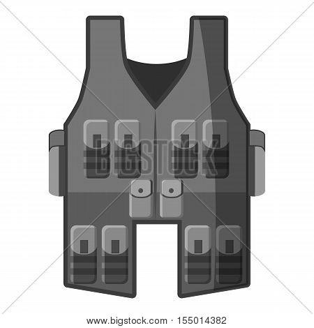 Vest icon. Gray monochrome illustration of vest vector icon for web